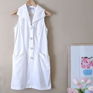 VINTAGE 80s white button front collared shirtdress